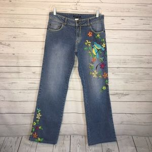 Boston Proper Floral Bird Embroidered Jeans 6